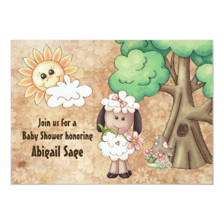 Cute Girl Sheep and Flowers Baby Shower Invitation