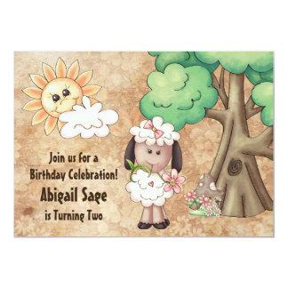 Cute Girl Sheep and Flowers Birthday Invitation