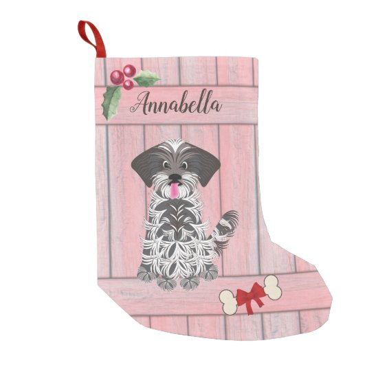 Cute Girl Shih Tzu Pink Wooden Fence Monogram Small Christmas Stocking