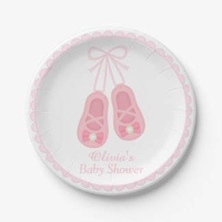 Cute Girl Shoes Ballerina Baby Shower Supplies Paper Plate