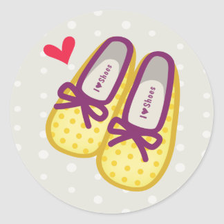 Cute Girl Shoes Round Sticker