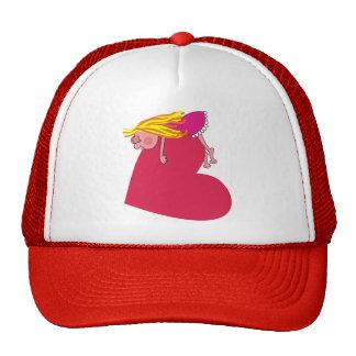 Cute Girl Sleeping on Heart Cartoon Hat
