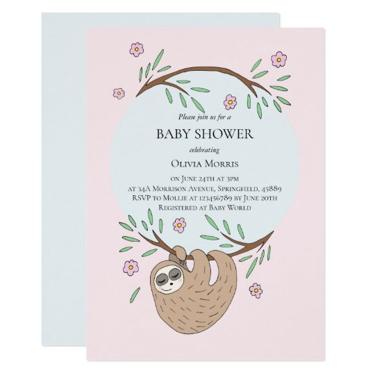Cute Girl Sleeping Sloth and Name Baby Shower Invitation