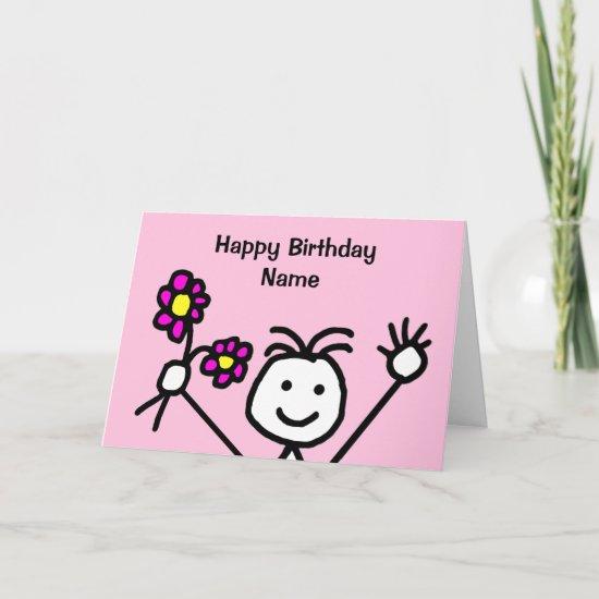 Cute Girl Smiling Waving Flowers Pink Birthday Card