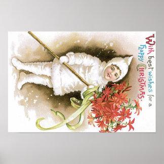 Cute Girl Snow Poinsettia Yellow Ribbon Poster