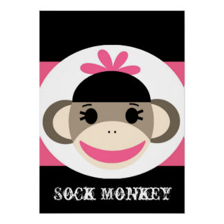 Cute Girl Sock Monkey Black Pink Stripes Poster