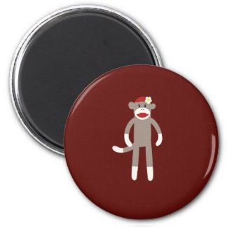 Cute Girl Sock Monkey on Red 2 Inch Round Magnet