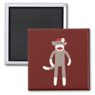 Cute Girl Sock Monkey on Red 2 Inch Square Magnet