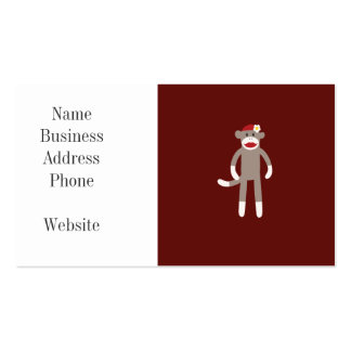 Cute Girl Sock Monkey on Red Business Card