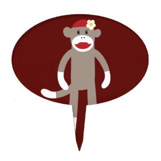Cute Girl Sock Monkey on Red Cake Topper