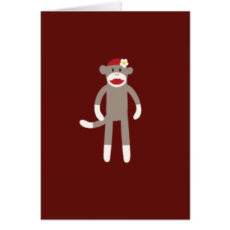 Cute Girl Sock Monkey on Red Card