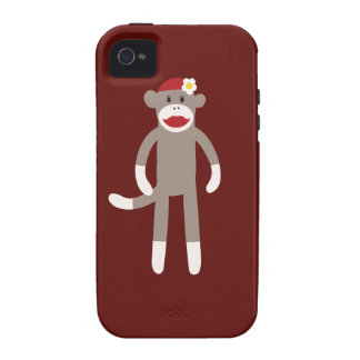 Cute Girl Sock Monkey on Red Vibe iPhone 4 Cover