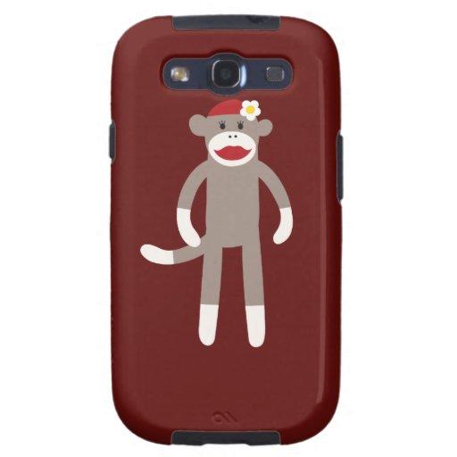 Cute Girl Sock Monkey on Red Samsung Galaxy S3 Case