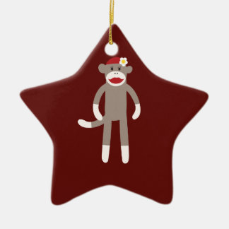 Cute Girl Sock Monkey on Red Ceramic Ornament