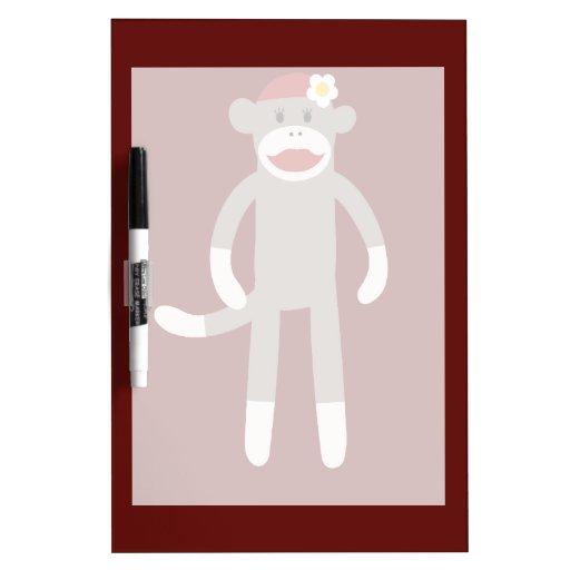 Cute Girl Sock Monkey on Red Dry Erase Board