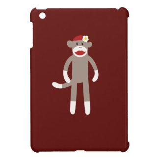 Cute Girl Sock Monkey on Red iPad Mini Cases