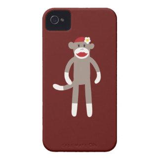 Cute Girl Sock Monkey on Red iPhone 4 Case