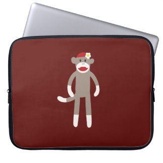 Cute Girl Sock Monkey on Red Laptop Sleeve