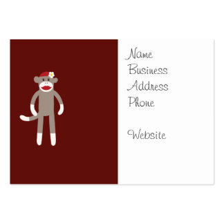 Cute Girl Sock Monkey on Red Large Business Card