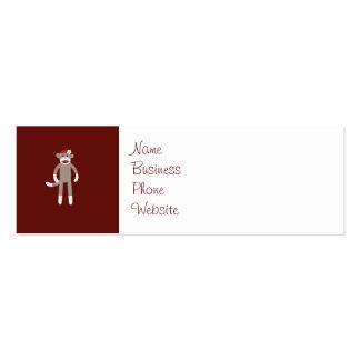 Cute Girl Sock Monkey on Red Mini Business Card