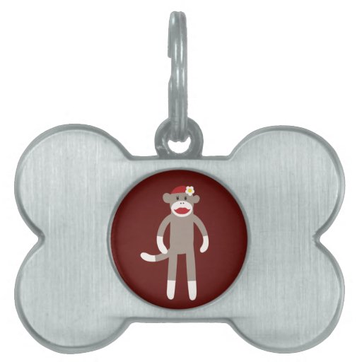 Cute Girl Sock Monkey on Red Pet Name Tag