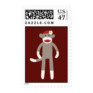 Cute Girl Sock Monkey on Red Postage