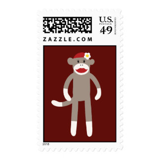 Cute Girl Sock Monkey on Red Stamp