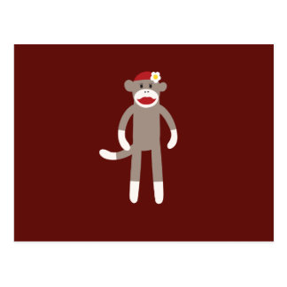Cute Girl Sock Monkey on Red Postcard