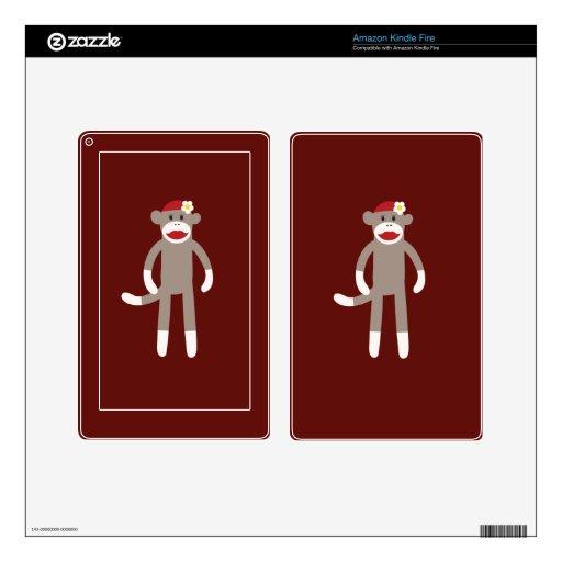 Cute Girl Sock Monkey on Red Skin For Kindle Fire