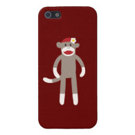 Cute Girl Sock Monkey Red Tan iPhone 5 Case