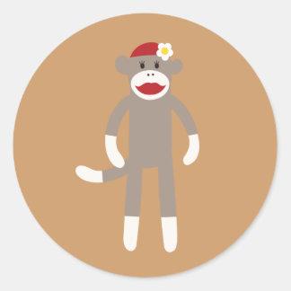 Cute Girl Sock Monkey Sticker