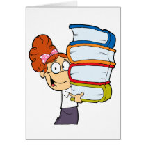 cute girl student with lots of books card