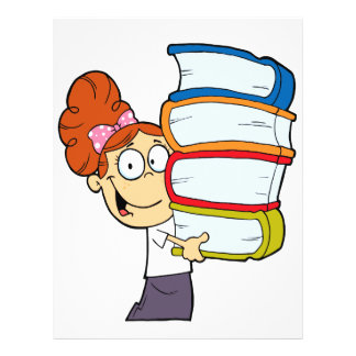 cute girl student with lots of books full color flyer