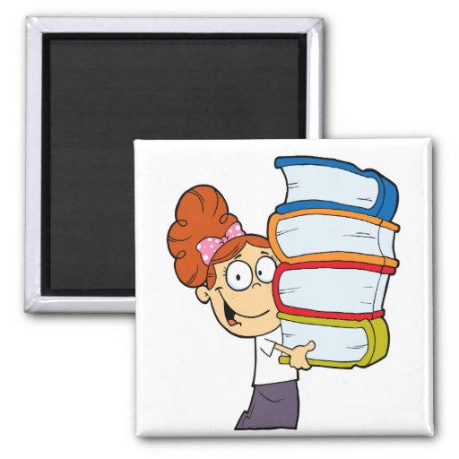cute girl student with lots of books refrigerator magnet