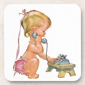 Cute Girl Talking on Phone Drink Coaster