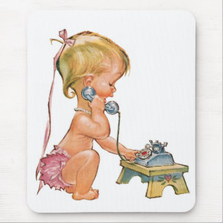 Cute Girl Talking on Phone Mousepad
