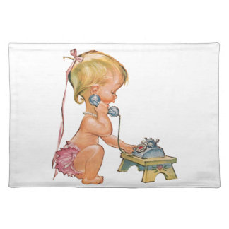 Cute Girl Talking on Phone Placemat