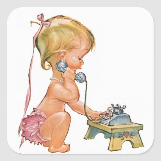 Cute Girl Talking on Phone Square Sticker