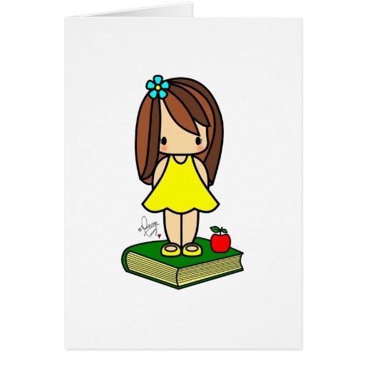 Cute girl teacher with a red apple card