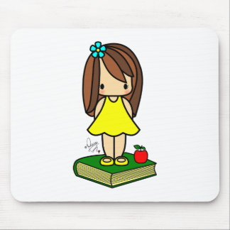 Cute girl teacher with a red apple mouse pad