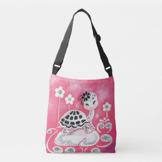 Cute Girl Turtle With Flowers And Swirls Tote Bag