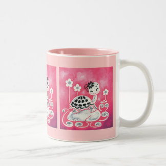 Cute Girl Turtle With Flowers And Swirls Two-Tone Coffee Mug