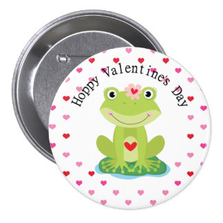 Cute Girl Valentine Frog Button