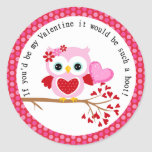 Cute Girl Valentine Owl with Heart Stickers