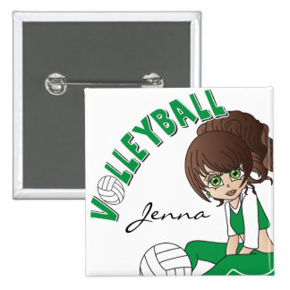 Cute Girl Volleyball Player in Green Button