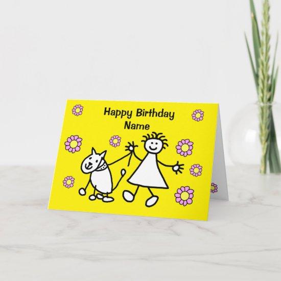 Cute Girl Walking Dog Birthday Card