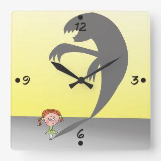 Cute Girl with a Naughty Shadow Funny  Wall Clock