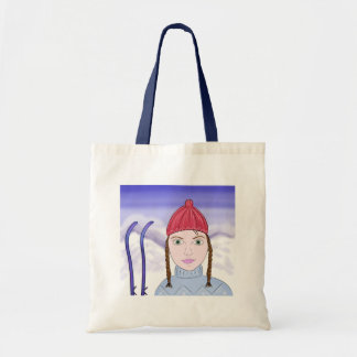 Cute Girl with Big Green Eyes on Snowy Background Tote Bag