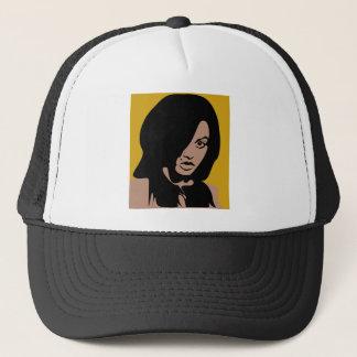 Cute Girl with Black Hair Trucker Hat