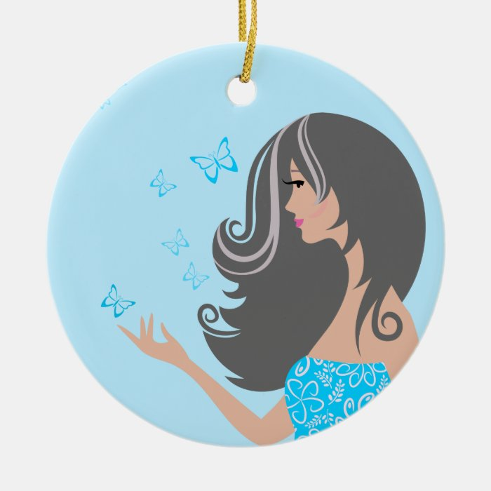 Cute girl with blue butterflies ornament